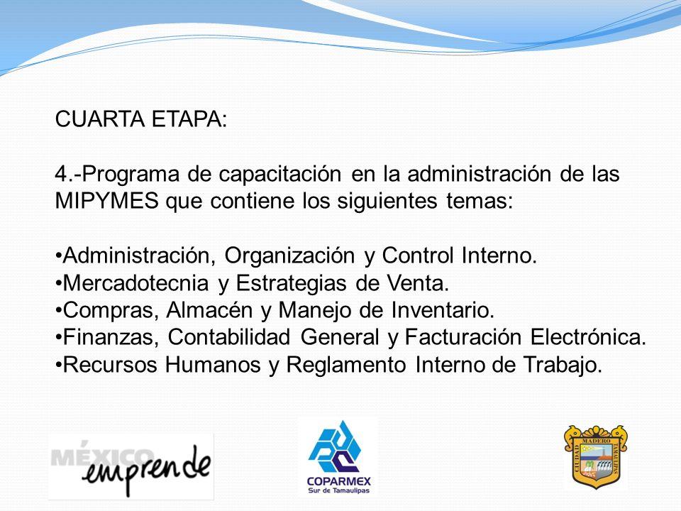 CUARTA ETAPA: 4.-Programa de capacitación en la administración de las MIPYMES que contiene los siguientes temas: