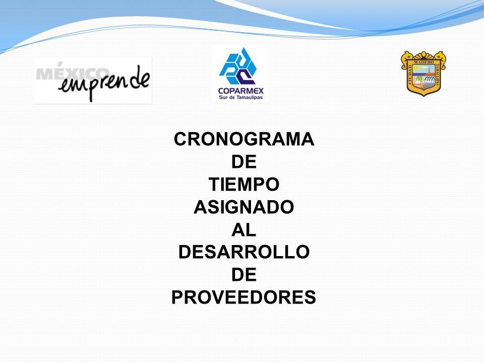 CRONOGRAMA DE TIEMPO ASIGNADO AL DESARROLLO PROVEEDORES