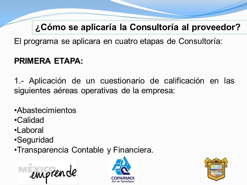 ¿Cómo se aplicaría la Consultoría al proveedor