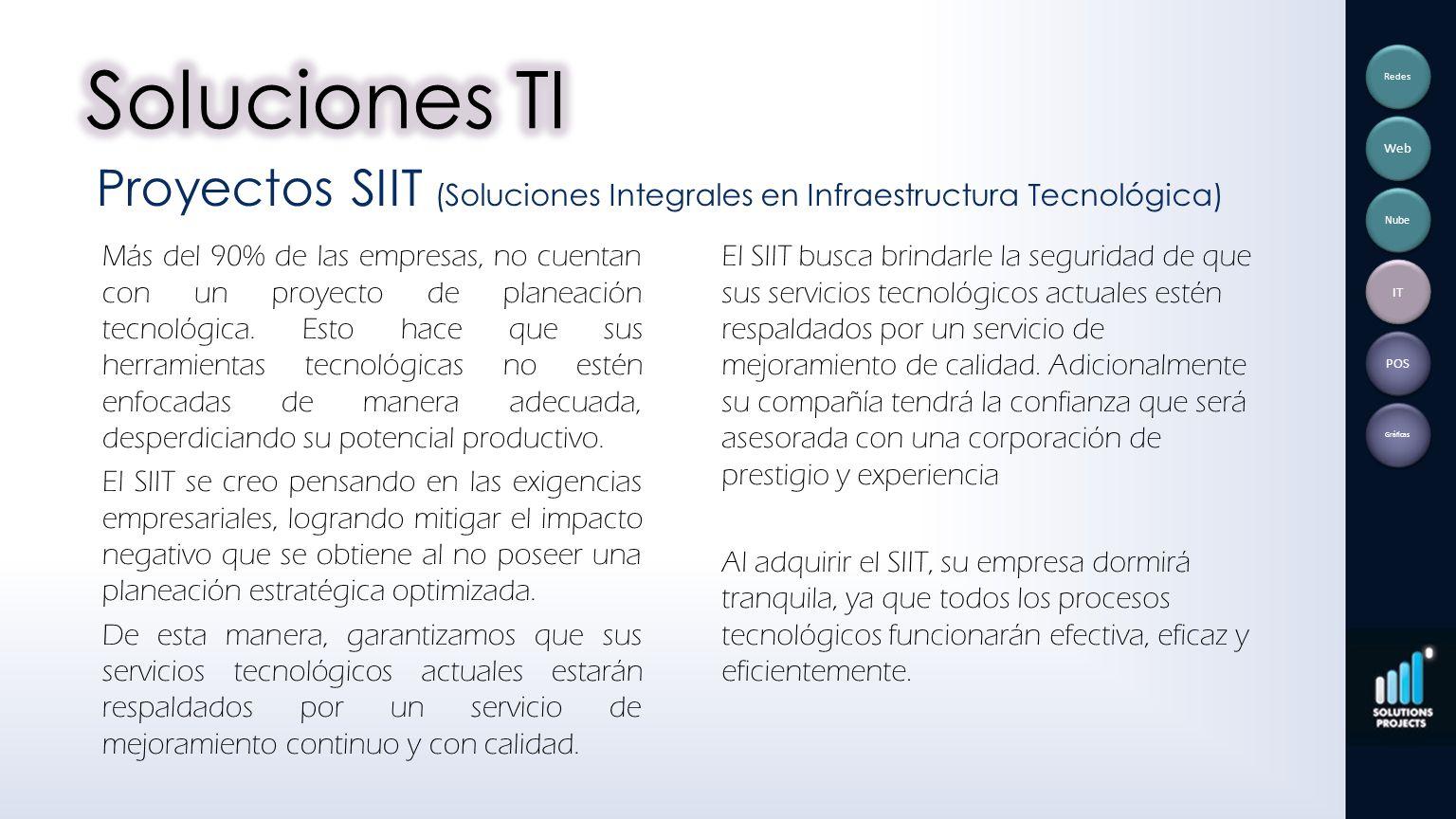 Soluciones TI Redes. Web. Proyectos SIIT (Soluciones Integrales en Infraestructura Tecnológica) Nube.
