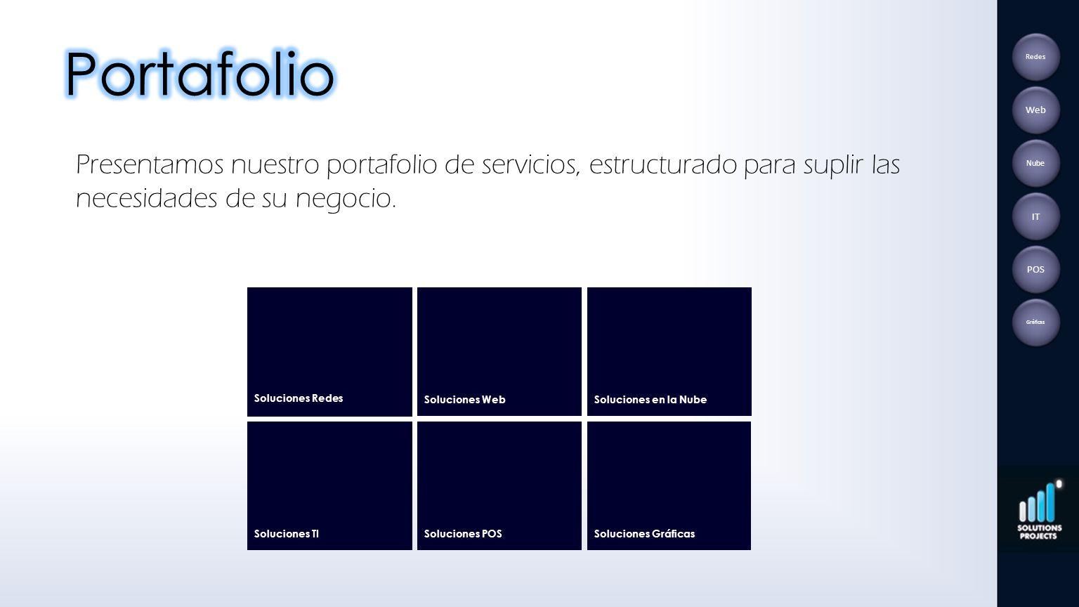Portafolio Redes. Web. Presentamos nuestro portafolio de servicios, estructurado para suplir las necesidades de su negocio.