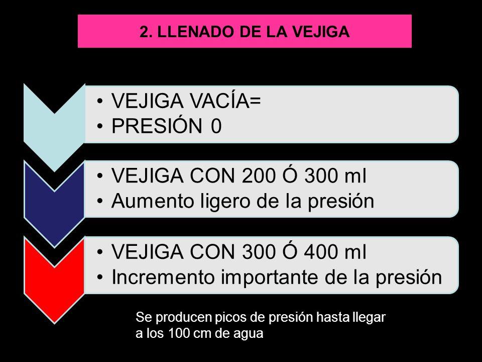 2. LLENADO DE LA VEJIGA VEJIGA VACÍA= PRESIÓN 0. VEJIGA CON 200 Ó 300 ml. Aumento ligero de la presión.