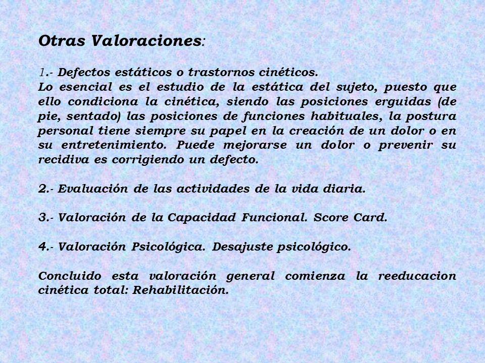 Otras Valoraciones: 1.- Defectos estáticos o trastornos cinéticos.