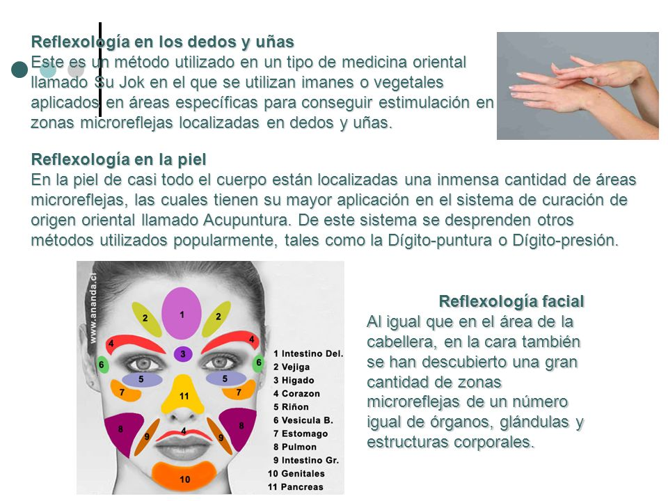 Reflexología en los dedos y uñas