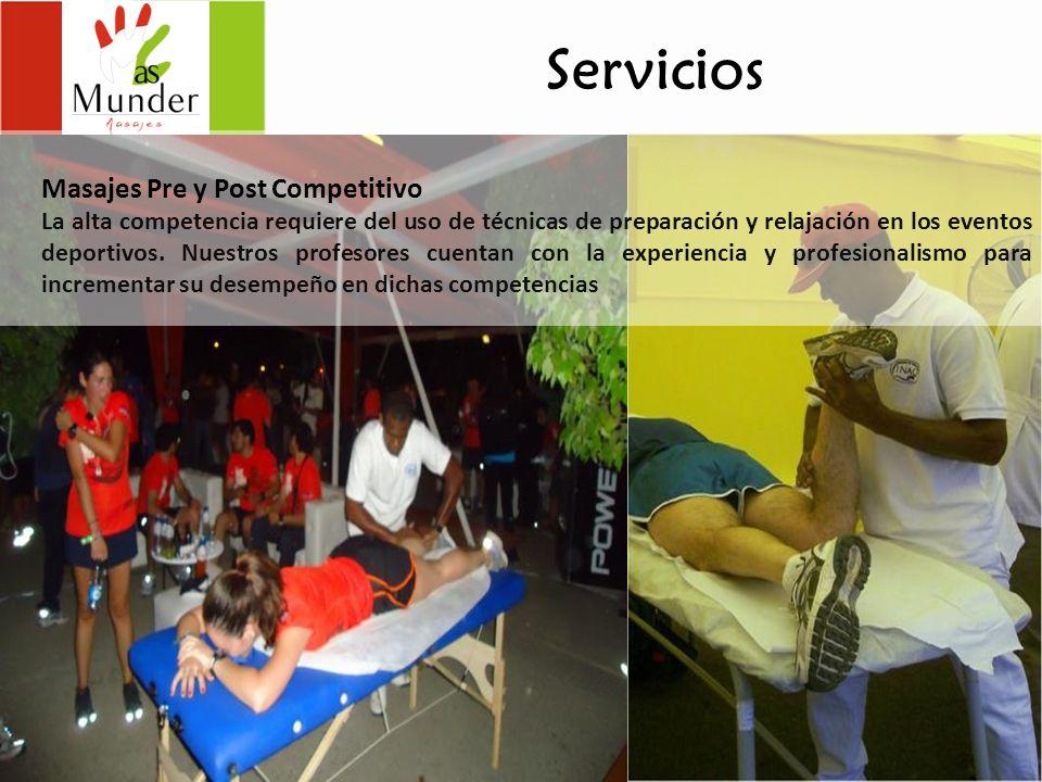 Servicios Masajes Pre y Post Competitivo