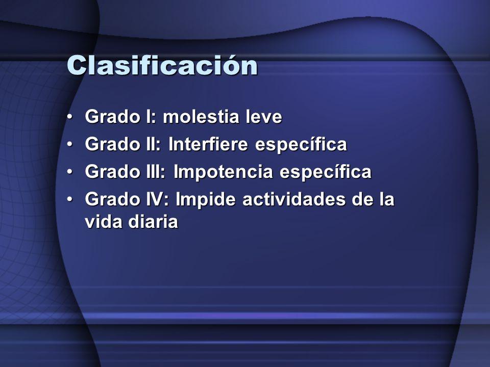 Clasificación Grado I: molestia leve Grado II: Interfiere específica