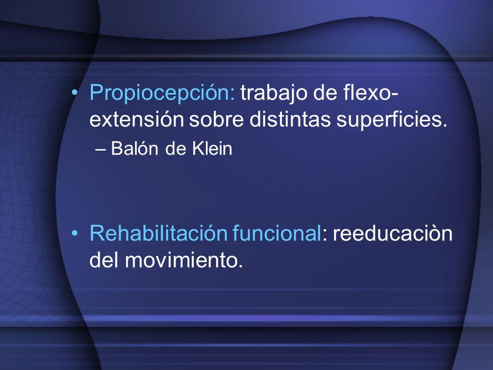 Propiocepción: trabajo de flexo-extensión sobre distintas superficies.