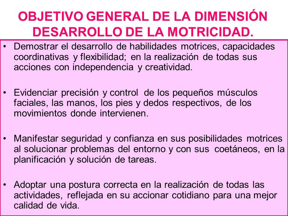 OBJETIVO GENERAL DE LA DIMENSIÓN DESARROLLO DE LA MOTRICIDAD.