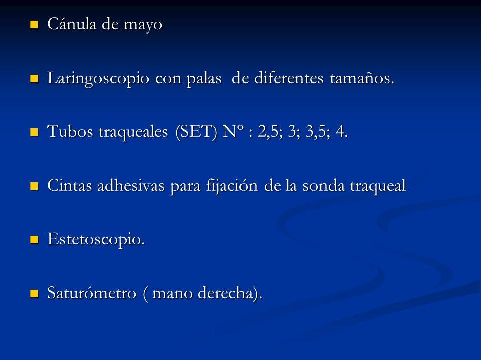 Cánula de mayo Laringoscopio con palas de diferentes tamaños. Tubos traqueales (SET) Nº : 2,5; 3; 3,5; 4.