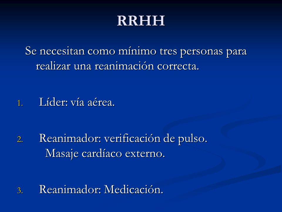 RRHH Se necesitan como mínimo tres personas para realizar una reanimación correcta. Líder: vía aérea.