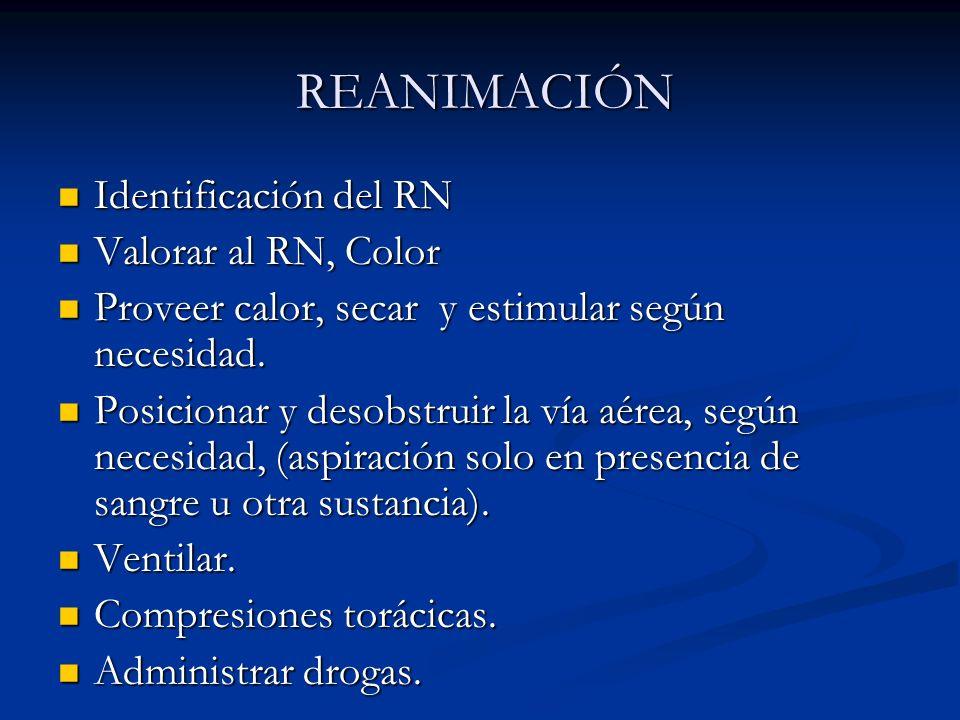 REANIMACIÓN Identificación del RN. Valorar al RN, Color. Proveer calor, secar y estimular según necesidad.
