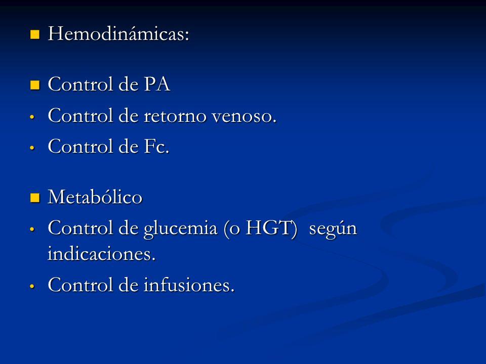 Hemodinámicas: Control de PA. Control de retorno venoso. Control de Fc. Metabólico. Control de glucemia (o HGT) según indicaciones.