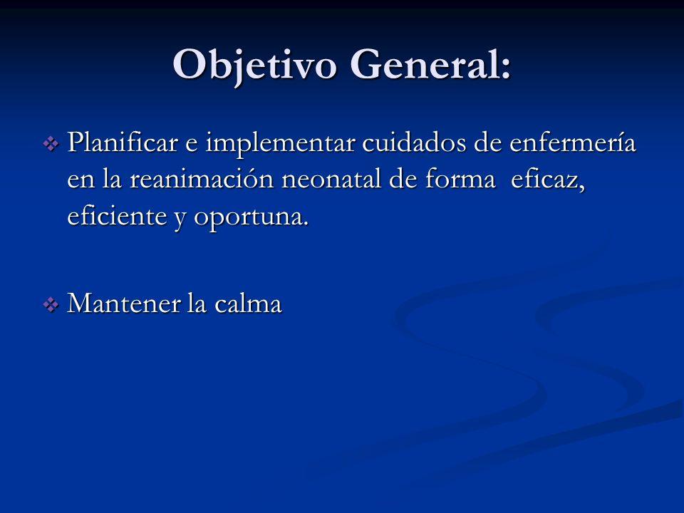 Objetivo General: Planificar e implementar cuidados de enfermería en la reanimación neonatal de forma eficaz, eficiente y oportuna.