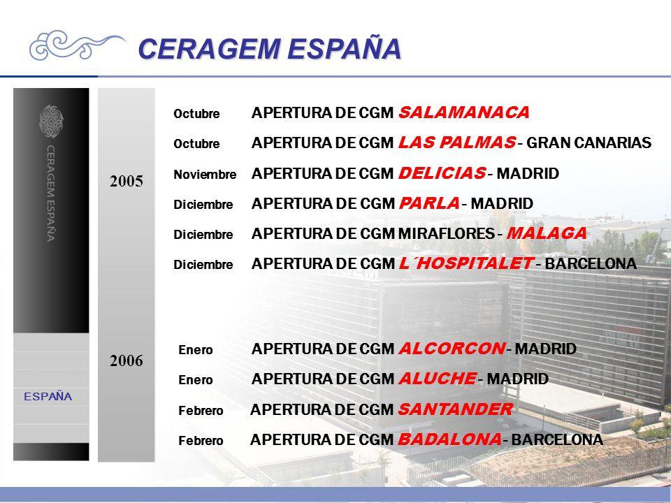 CERAGEM ESPAÑA 2005 2006 Octubre APERTURA DE CGM SALAMANACA