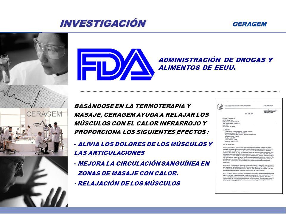 INVESTIGACIÓN CERAGEM ADMINISTRACIÓN DE DROGAS Y ALIMENTOS DE EEUU.