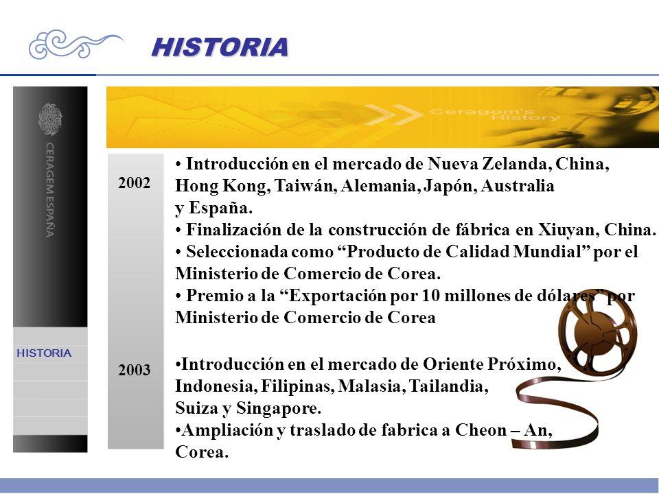 HISTORIA Introducción en el mercado de Nueva Zelanda, China,