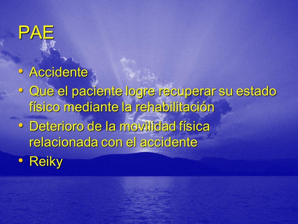 PAE Accidente. Que el paciente logre recuperar su estado físico mediante la rehabilitación.