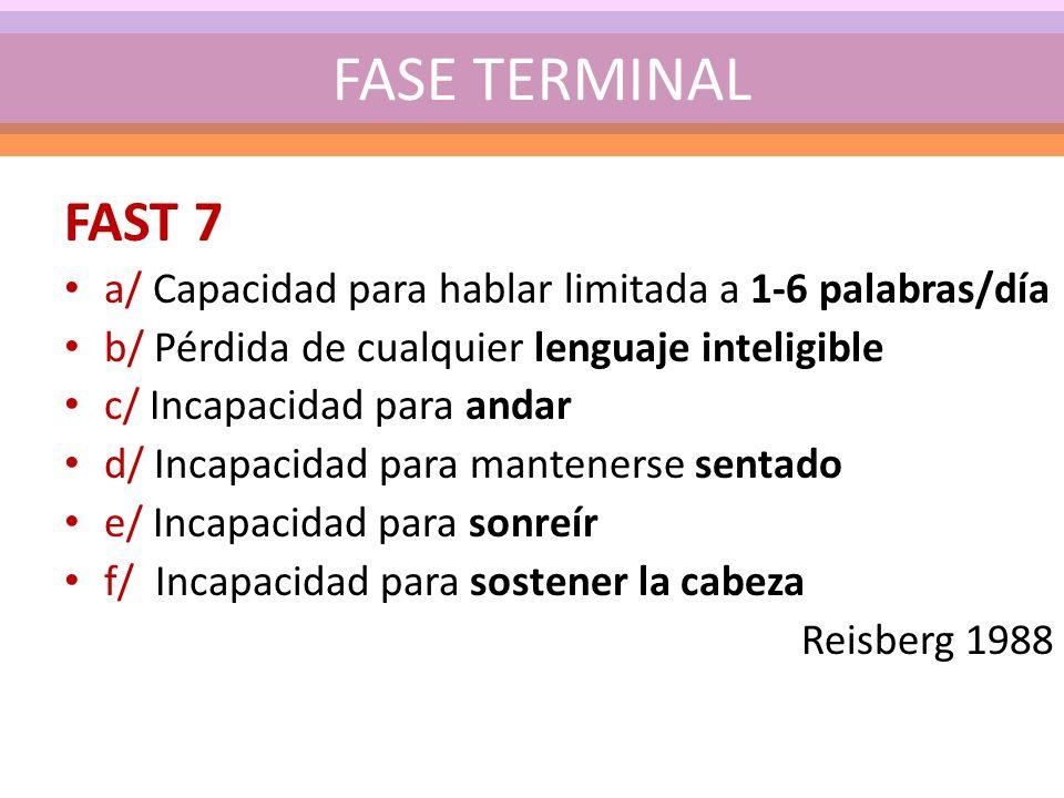 FASE TERMINAL FAST 7. a/ Capacidad para hablar limitada a 1-6 palabras/día. b/ Pérdida de cualquier lenguaje inteligible.
