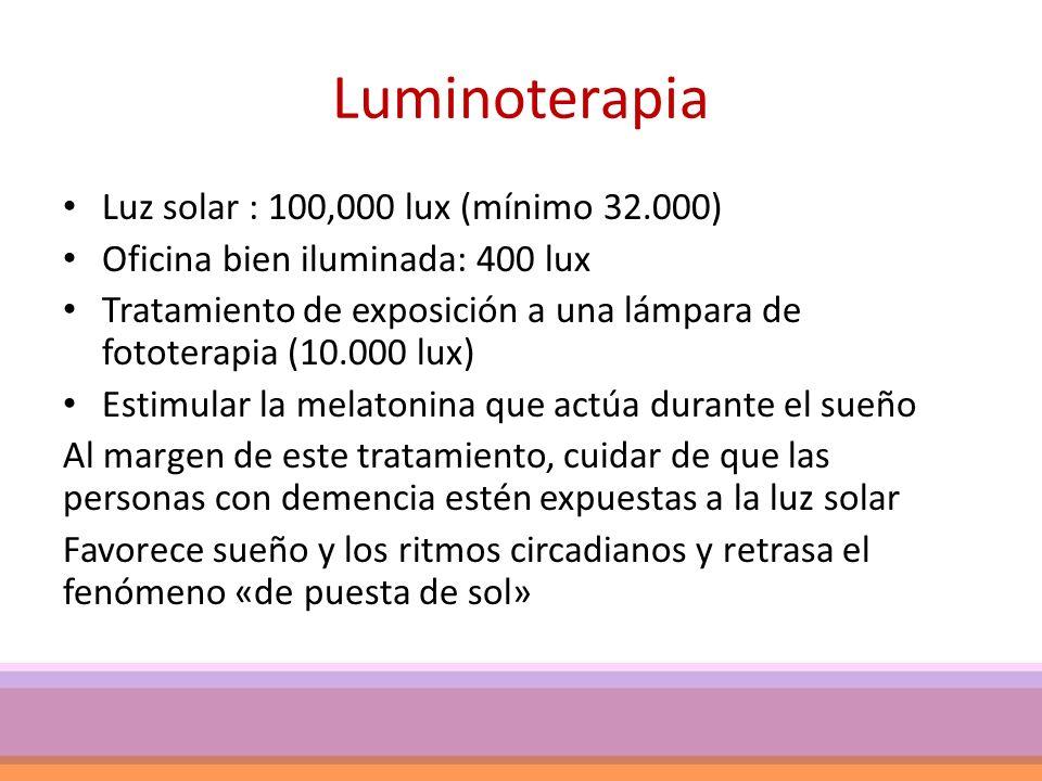 Luminoterapia Luz solar : 100,000 lux (mínimo 32.000)