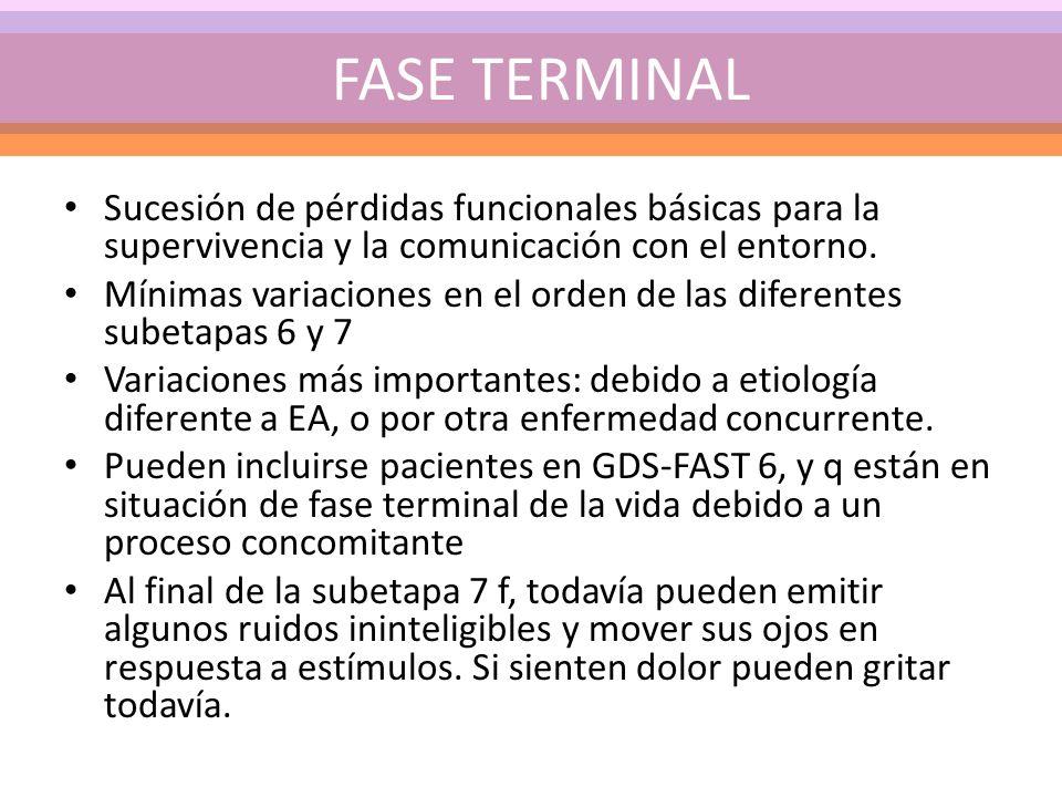 FASE TERMINAL Sucesión de pérdidas funcionales básicas para la supervivencia y la comunicación con el entorno.