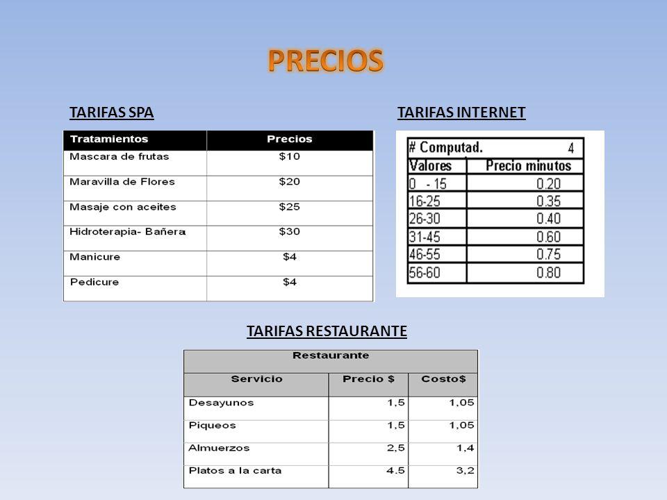 PRECIOS TARIFAS SPA TARIFAS INTERNET TARIFAS RESTAURANTE