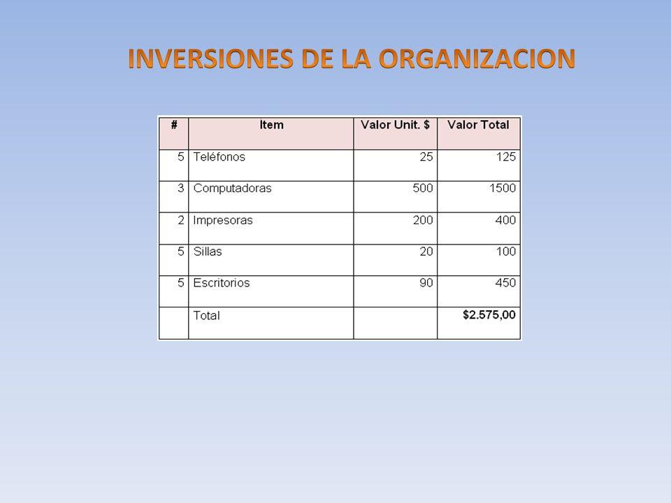 INVERSIONES DE LA ORGANIZACION