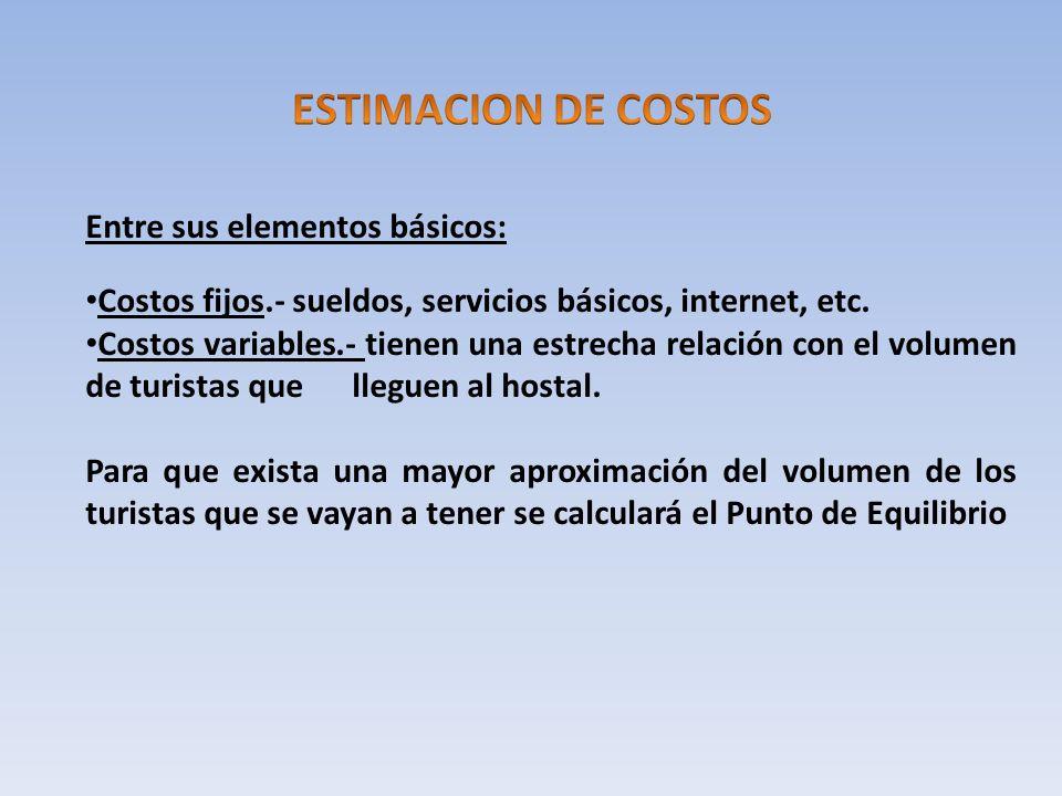 ESTIMACION DE COSTOS Entre sus elementos básicos: