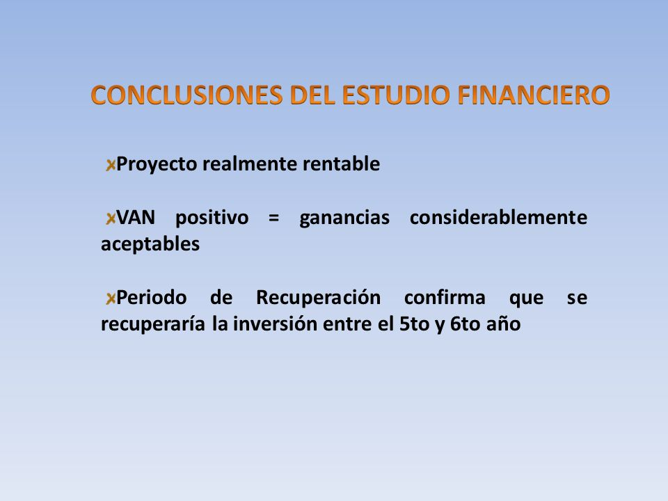 CONCLUSIONES DEL ESTUDIO FINANCIERO