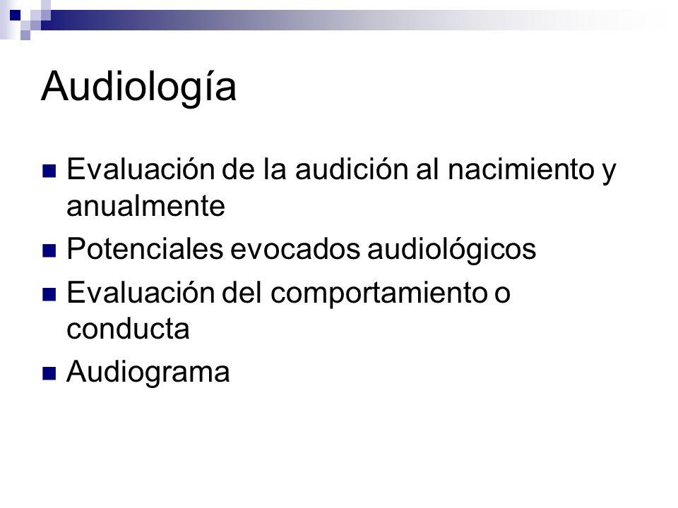 Audiología Evaluación de la audición al nacimiento y anualmente