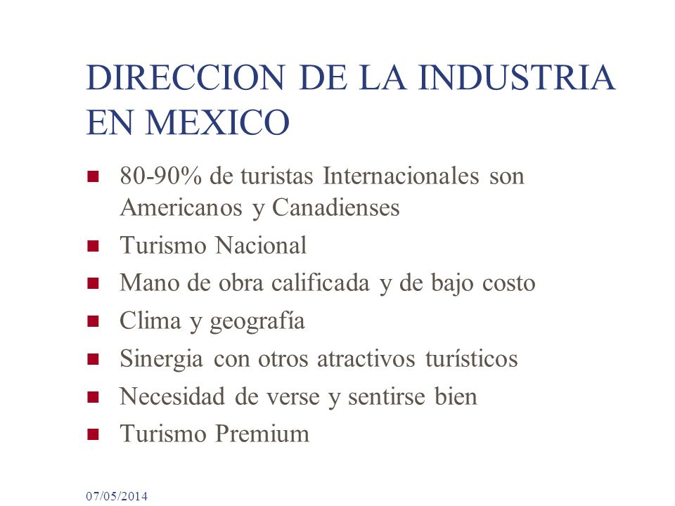 DIRECCION DE LA INDUSTRIA EN MEXICO