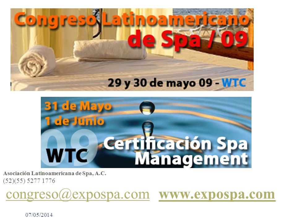 (52)(55) 5277 1776 Asociación Latinoamericana de Spa, A.C.
