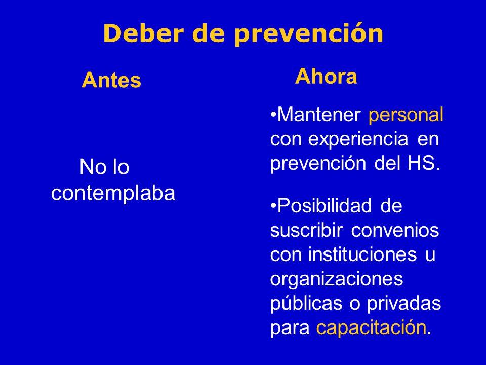 Deber de prevención Ahora Antes No lo contemplaba