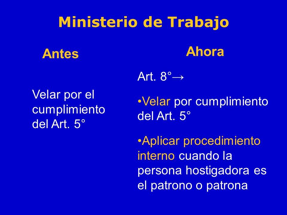 Ministerio de Trabajo Ahora Antes Art. 8°→