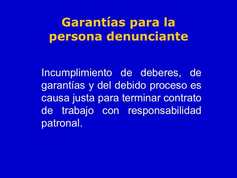Garantías para la persona denunciante