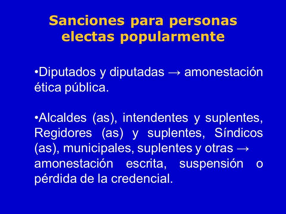 Sanciones para personas electas popularmente