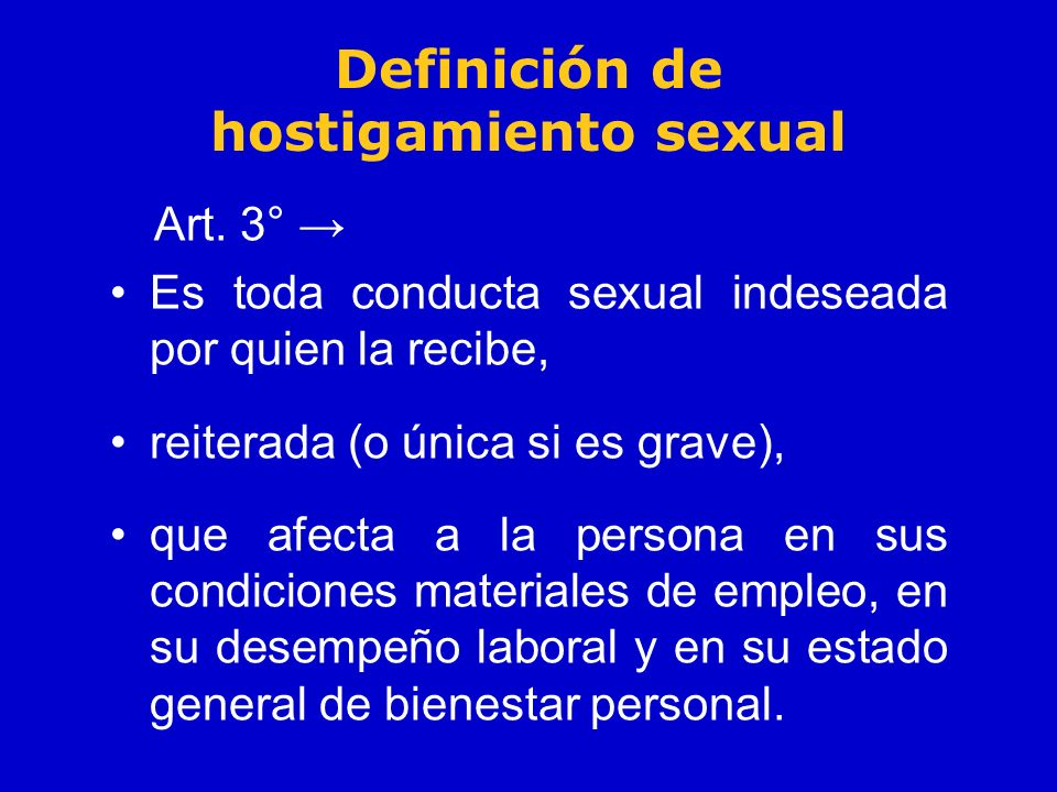 Definición de hostigamiento sexual