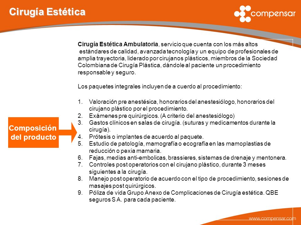Cirugía Estética Composición del producto