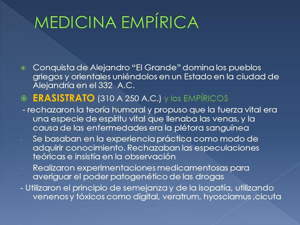 MEDICINA EMPÍRICA ERASISTRATO (310 A 250 A.C.) y los EMPÍRICOS