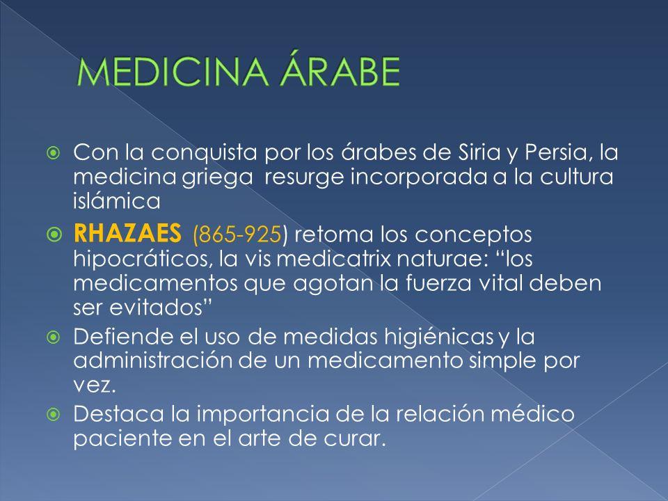 MEDICINA ÁRABE Con la conquista por los árabes de Siria y Persia, la medicina griega resurge incorporada a la cultura islámica.