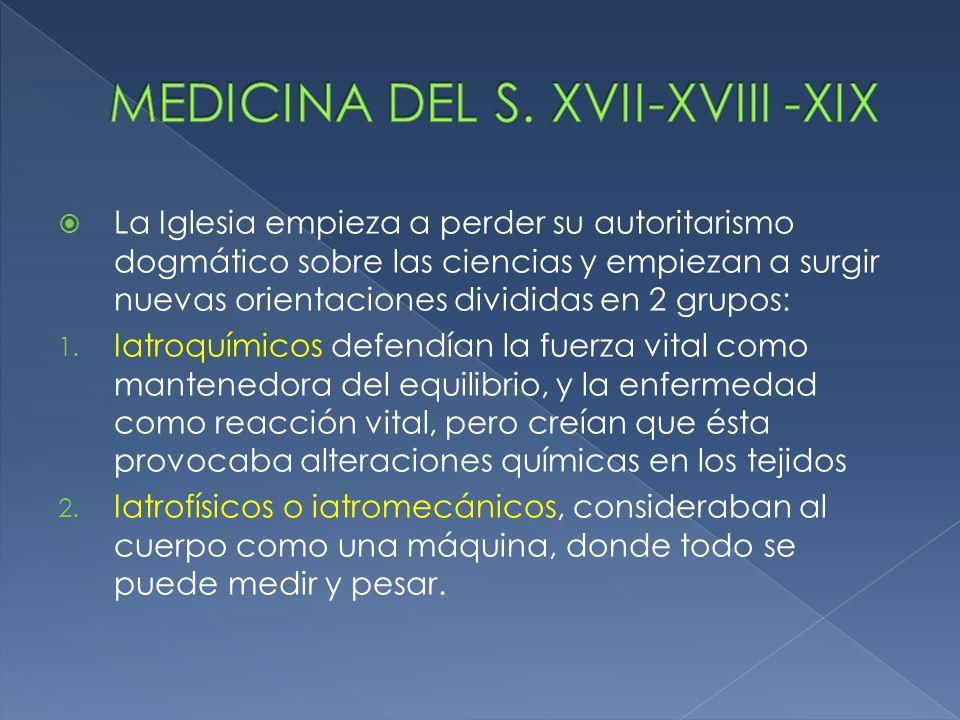 MEDICINA DEL S. XVII-XVIII -XIX