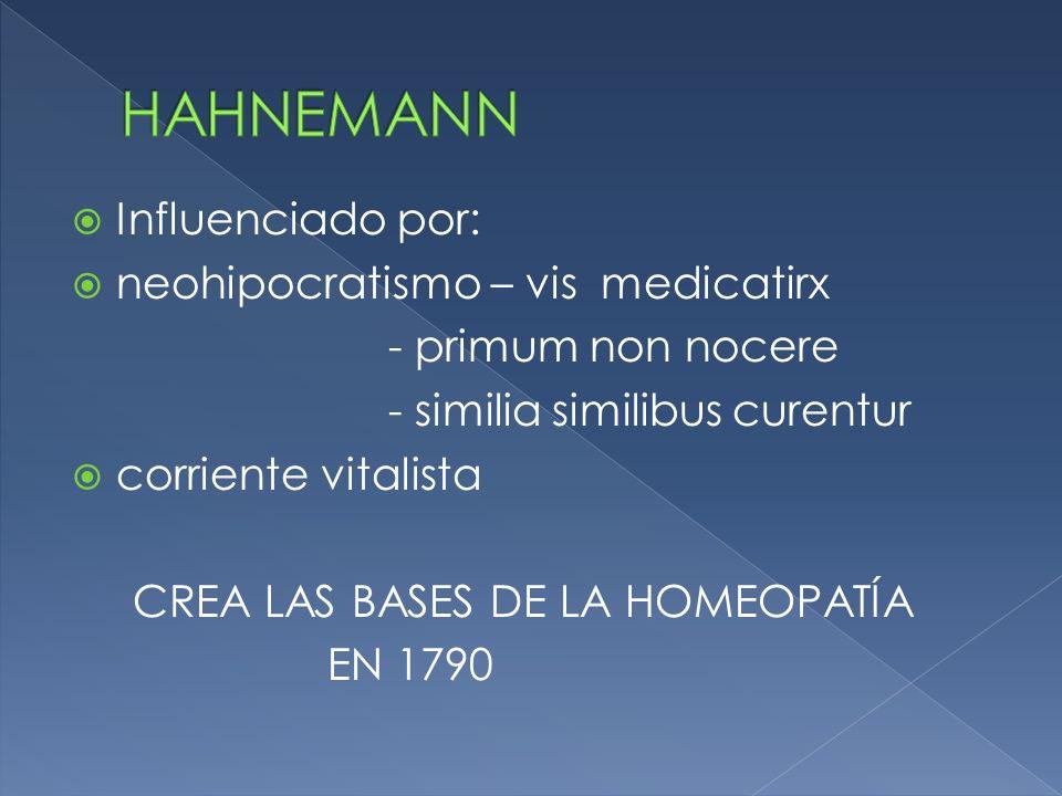 HAHNEMANN Influenciado por: neohipocratismo – vis medicatirx