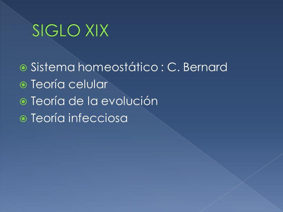SIGLO XIX Sistema homeostático : C. Bernard Teoría celular
