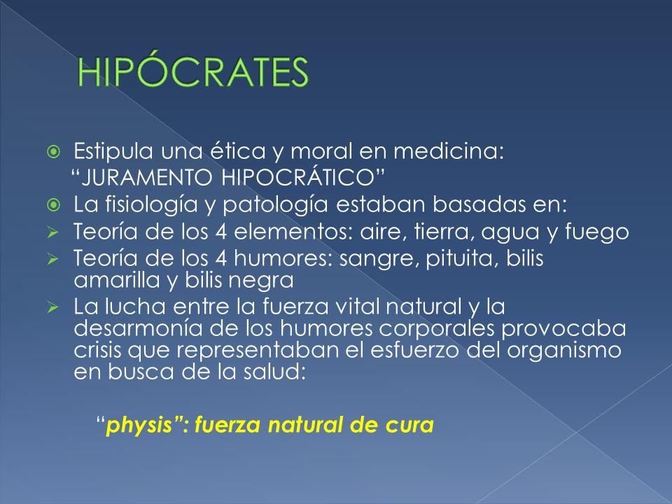 HIPÓCRATES Estipula una ética y moral en medicina: