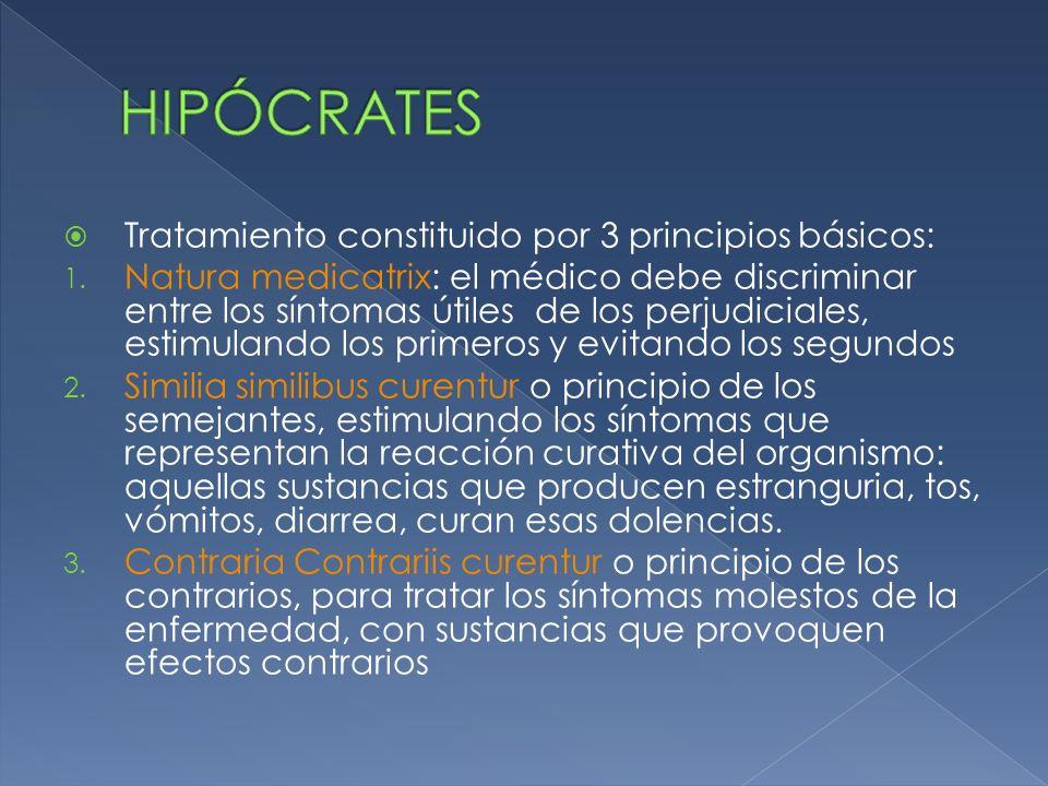 HIPÓCRATES Tratamiento constituido por 3 principios básicos: