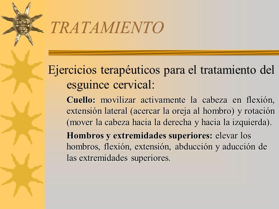 TRATAMIENTO. Ejercicios terapéuticos para el tratamiento del esguince cervical:
