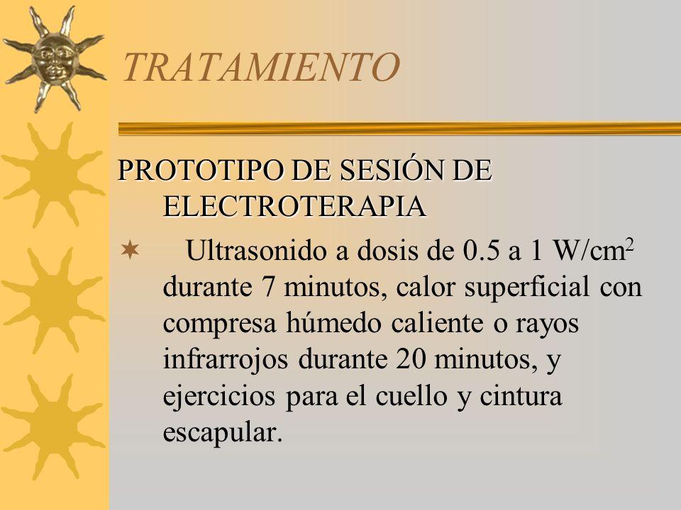 TRATAMIENTO PROTOTIPO DE SESIÓN DE ELECTROTERAPIA