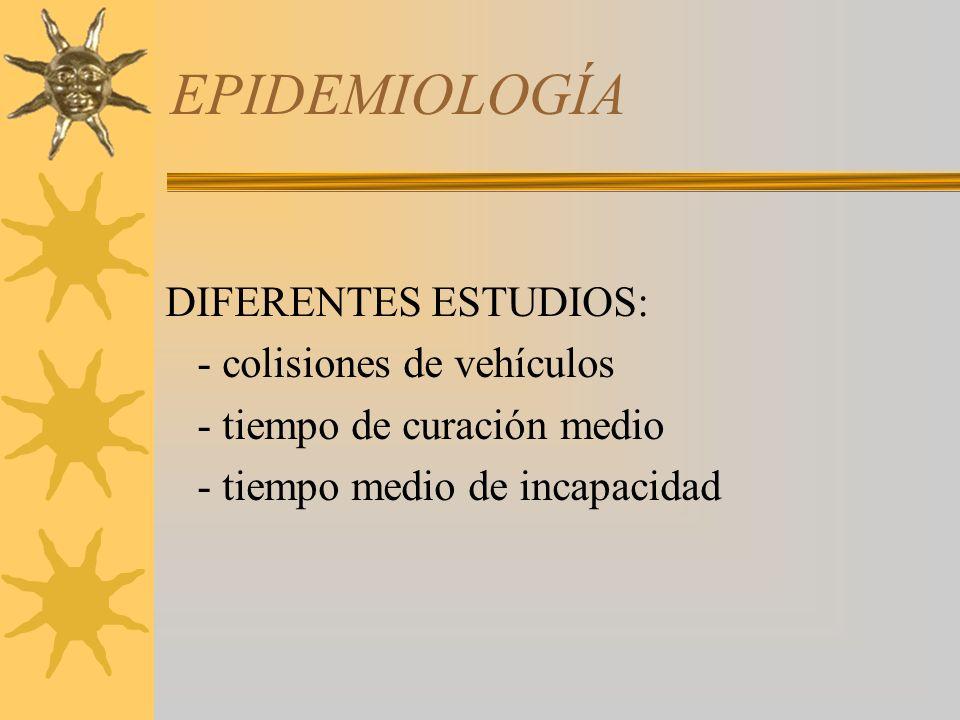 EPIDEMIOLOGÍA DIFERENTES ESTUDIOS: - colisiones de vehículos