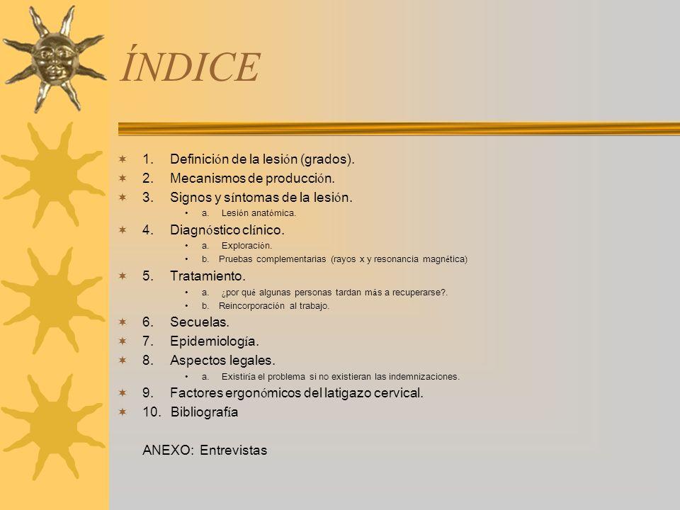 ÍNDICE 1. Definición de la lesión (grados).