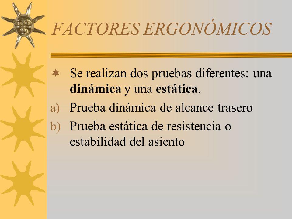 FACTORES ERGONÓMICOS Se realizan dos pruebas diferentes: una dinámica y una estática. Prueba dinámica de alcance trasero.