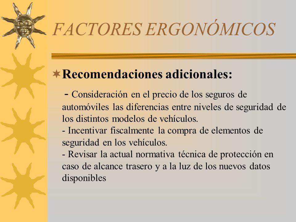 FACTORES ERGONÓMICOS Recomendaciones adicionales: